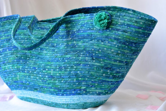 Beach Tote Bag, Handmade Batik Picnic Basket, Lovely Azure Blue Moses Basket, Summer Beach Bag with handles, Textile Art Basket