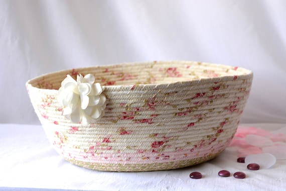 Pink Shabby Chic Basket, Floral Cat Bed, Handmade Coiled Basket, Pink Rose Home Decor, Pretty Storage Organizer, Coiled Rope Basket