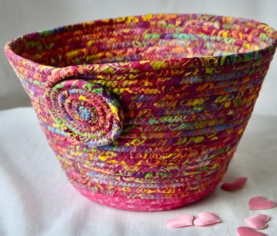 Batik Fabric Basket, Handmade Bread Basket, Pink Brush Holder, Mail Bin, Remote Control Basket, Fruit Bowl, Magenta Napkin Basket