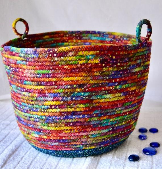 Blue Rainbow Basket, Handmade Batik Fabric Bin, Gorgeous Quilted Basket, Boho Chic Bowl, Cotton Planter Basket, Hat and Gloves Holder