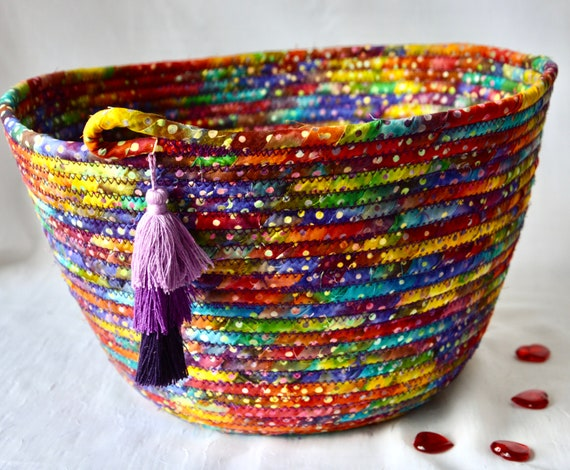 Boho Batik Basket, Handmade Bread Basket, Brush Holder, Unique Fabric Basket, Fruit Bowl, Fiber Napkin Basket