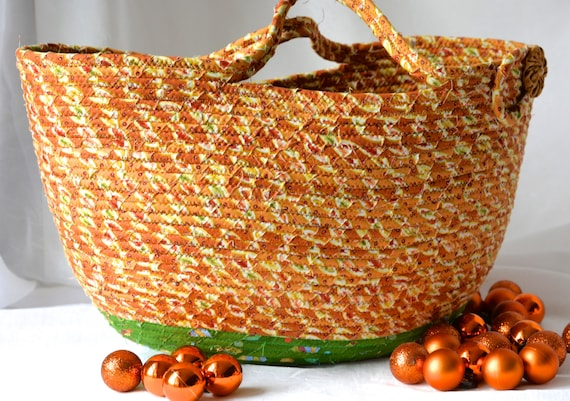 Rope Tote Bag, Tan Moses Basket, Quilted Picnic Basket, Unique Handmade Coiled Basket, Unique Fabric Gift Basket, Storage Organizer