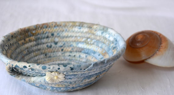 Indigo Blue Basket, Handmade Country Fabric Bowl, Candy Dish, Quilted Cotton Basket, Beach Cottage Chic Bowl, Key Change Bowl