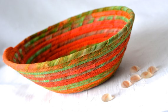 Fall Batik Basket, Handmade Orange Fabric Bowl, Country Candy Dish, Potpourri Bowl, Rustic Chic Quilted Bowl, Coiled Change Bowl