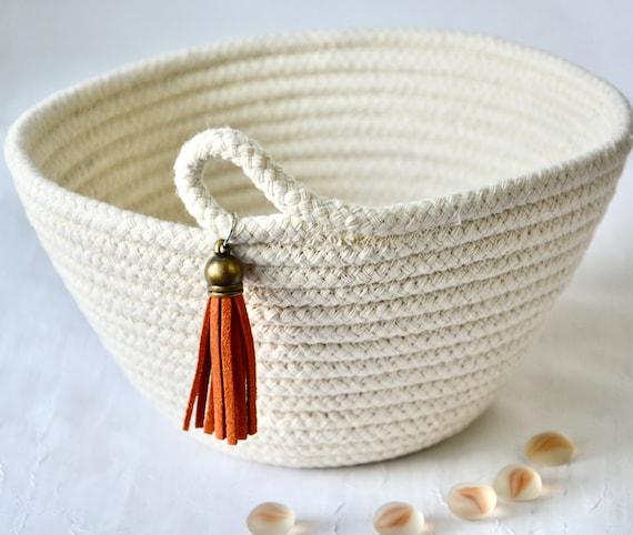 Bread Proofing Basket, Baker Gift, Tassel Home Decor Bowl, Prayer Basket, Handmade Rope Bowl, Banneton Basket, Minimalist hand coiled basket