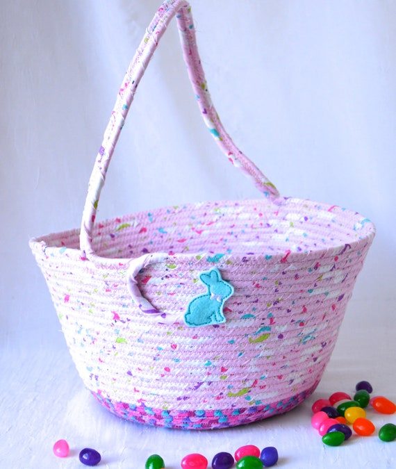 Girl Easter Basket, Handmade Girl Bucket, Cute Easter Decoration, Pink Baby Easter Bucket, Handled, Easter Egg Hunt Bag, Coiled Rope Basket