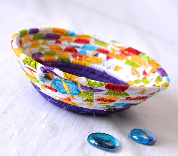 Stocking Stuffer, Bling Ring Dish, Quilted Rope Basket, Handmade Purple Bowl, Candy Dish, Makeup Organizer, Cute Desk Accessory Bowl L2