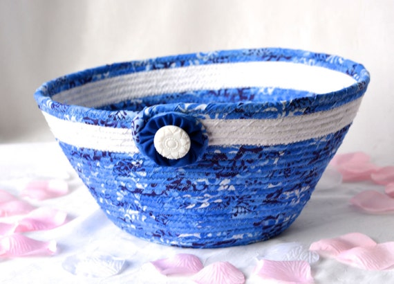 Blue Remote Control Basket, Handmade Mail Basket, Blue Fabric Bowl, Coiled Rope  Basket, Quilted Artisan Bowl
