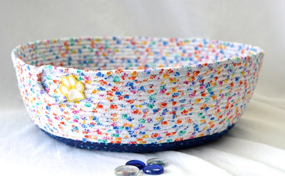 Boy Toy Basket, Blue Fabric Storage Organizer, Handmade Coiled Cat Pet Bed, Stuffed Animal Bin, Quilted Rope Basket, Dog Paw Fabric Bowl