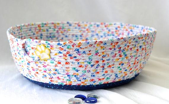 Round Toy Basket, Blue Fabric Storage Organizer, Handmade Coiled Yarn Holder, Stuffed Animal Bin, Quilted Rope Basket, Dog Paw Fabric Bowl