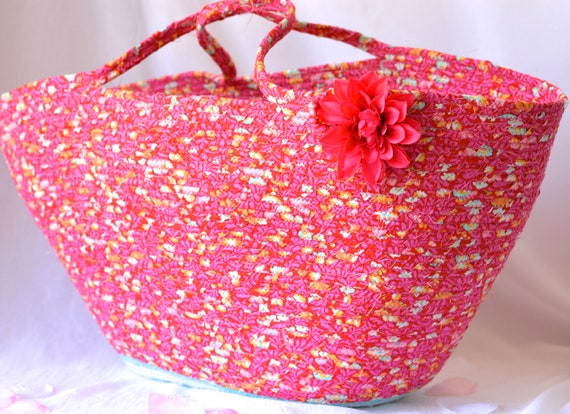 Magenta Tote Bag Purse, Handmade Modern Pink Basket, Storage Organizer, Knitting Project Bag, Picnic Gift  Basket, Baby Shower Gift