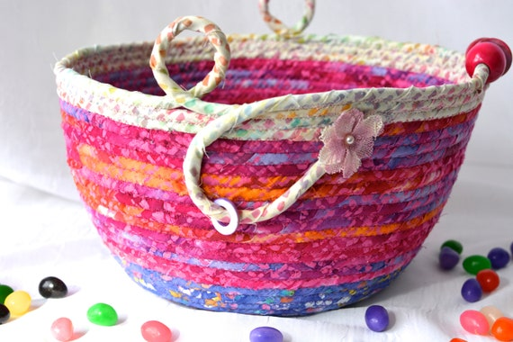 Pink Easter Basket, Handmade Batik Bowl, Baby Girl Nursery Basket, Pixie Fairy Dust Basket, Easter Basket, Toy Bin, Coiled Rope Basket
