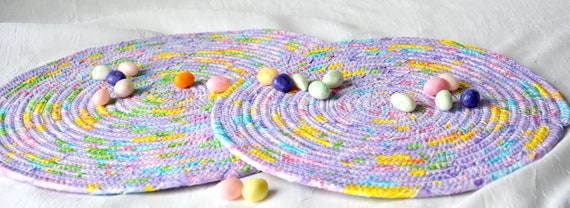 Easter Place Mats, 2 Lovely Spring Trivets, Quilted Hot Pads, Violet Mug Rugs, Potholders, Modern Table Toppers, Table Runner