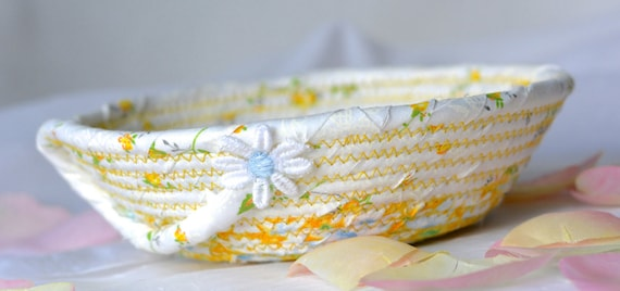 Cute Ring Dish, Handmade Yellow Floral Basket, Business Card Holder, Shabby Chic Basket, Pretty Desk Accessory, Rope Coiled Bowl