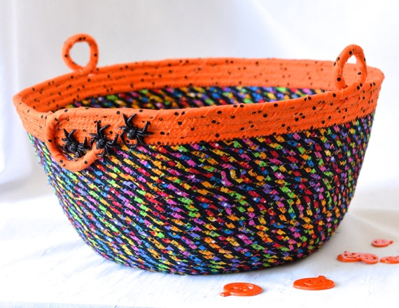 Halloween Candy Bucket, Handmade Fall Home Decor, Black and Orange Artisan Basket, Hand Coiled Fabric Basket, Fall Rope Bowl