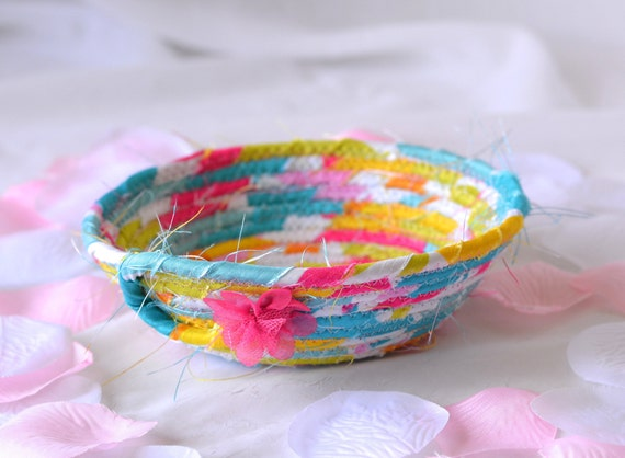 Cute Easter Decoration, Candy Dish, Jelly Bean Holder, Ring Dish, Handmade Pink Sateen Basket, Spring Home Decor, Cute Coiled Key Bowl