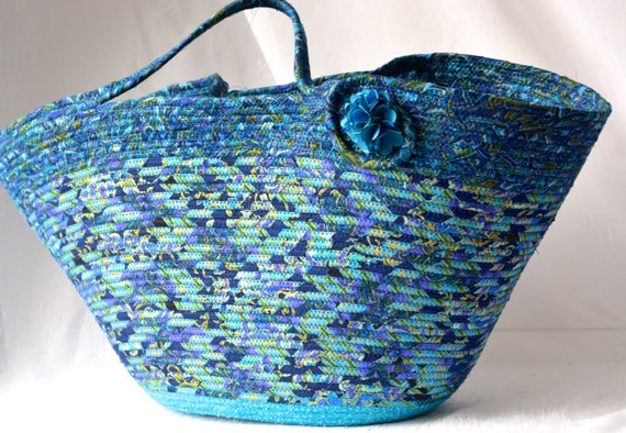 Blue Tote Bag Basket, Handmade Blue Beauty Handbag, Unique Coiled Rope Basket, Clothesline Tote Bag, Storage Organizer