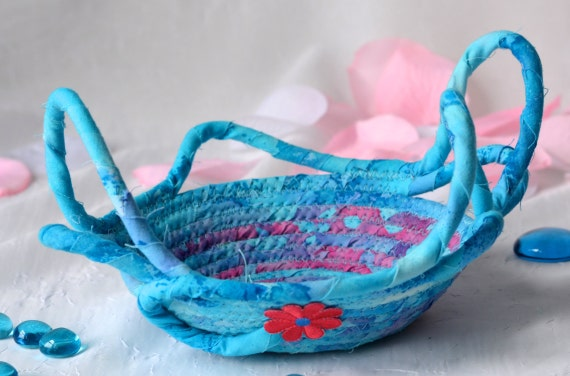 Textile Art Basket, Unique Aqua Decoration, Blue Quilted Basket, Handmade Ring Holder, Cute Desk Accessory, Candy Dish Bowl