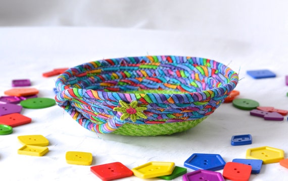 Cute Ring Dish Bowl, Handmade Artisan Quilted Bowl, Gift Basket, Desk Home Office Decor, Trinket Bowl, Change Basket