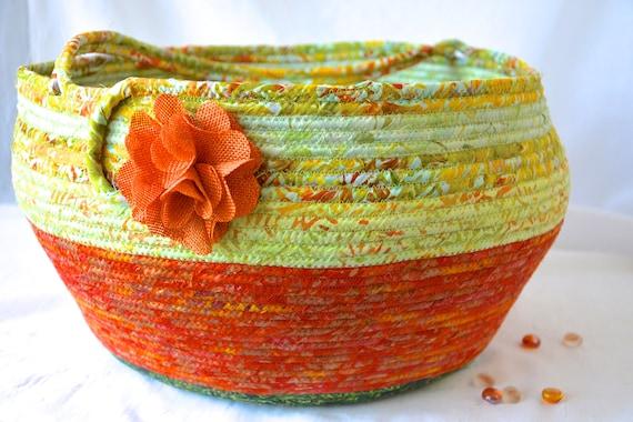 Bolga Art Basket, Handmade Burnt Orange Fabric Basket, Coiled Rope Basket with handle, Farmhouse Fabric Bin, Country Chic Basket