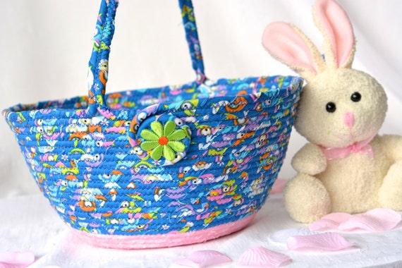 Girl Easter Basket, Flower Girl Basket, Handmade Artisan Easter Basket, Blue and Pink Wedding Basket, Blue and Pink Easter Bucket