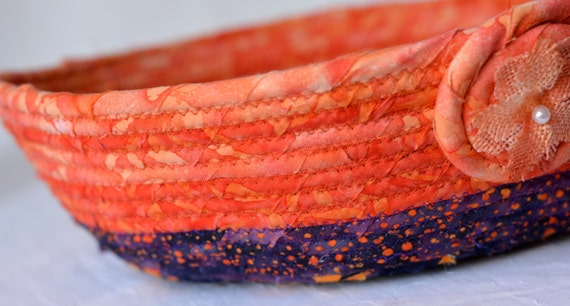 Burnt Orange Bowl, Unique Quilted Rope Basket, Handmade Fall Batik Basket, Autumn Key Bowl, Ring Dish, Hand Coiled Fabric Basket