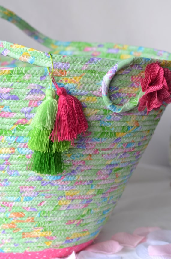 Baby Girl Nursery Decor, Tote Bag, Handmade Quilted Basket, Mint Green Glitter Basket, Laptop Case, Handled Basket, Baby Shower Gift