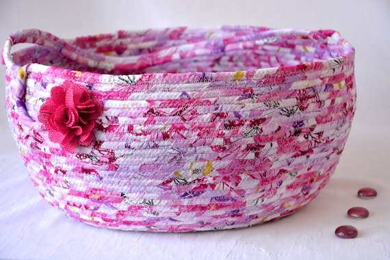 Modern Bolga Basket, Storage Container, Handmade Textile Art Basket, Designer Rope Basket with handle, Pink Chic Fabric Bin