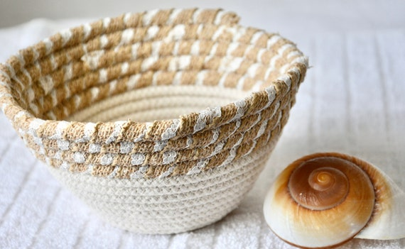 Candy Dish Bowl, Key Holder, Handmade Quilted Basket, Cute Potpourri Basket, Ring Dish,  Minimalist Burlap and Rope Bowl