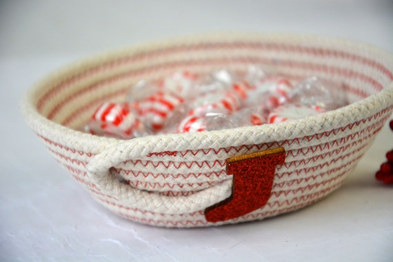 Holiday Stocking Dish, Desk Accessory Bowl, Handmade Rope Basket, Country Ring Dresser Tray, Neutrals Decoration, Farmhouse rope basket