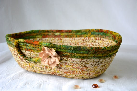 Eyeglasses Holder Bowl, Handmade Batik Basket, Hand Coiled Rope Basket, Woodland Oval Bowl, Rustic Fabric Bowl, Remote Control  Tray