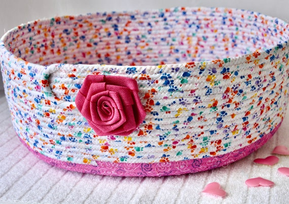 Paper Recycle Bucket, Toy Organizer Bin, Handmade Pink Basket, Shawl Basket, Yarn Holder, Blanket Bin, Quilted Toy Basket