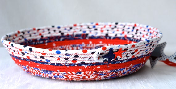 Fun Party Bowl, Handmade Red White and Blue Party Bowl, Gift for Dad, BBQ Cookout Picnic Basket, 4th of July Patriotic Decoration