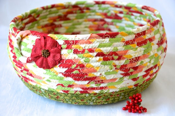 Christmas Napkin Basket, Holiday Fabric Bowl, Homemade Mail Holder, Fruit Bowl, Bread Basket, Handmade Coiled Rope Basket