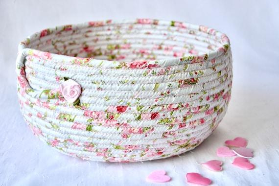 Rose Floral Decoration, Pretty Fabric Basket, Handmade Quilted Basket, Pink Napkin Holder, Fruit Bowl, Bread Basket, Remote Holder