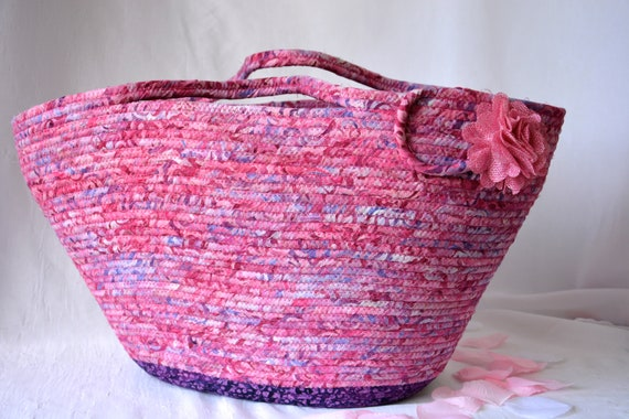 Magenta Batik Handbag, Handmade Fiber Art Bag, Lovely Batik Picnic Basket, Tote Bag, Laptop Case, Unique Gift Basket, Coiled Moses Basket