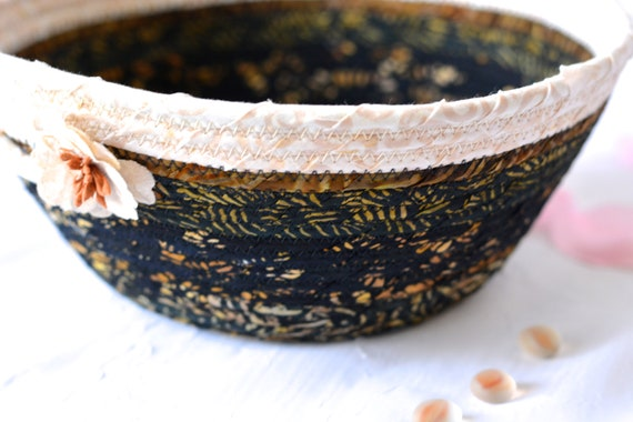 Country Gift Basket, Gorgeous Batik Basket, Black and Beige Fiber Bowl, Textile Art Basket, Handmade Coiled Rope Basket