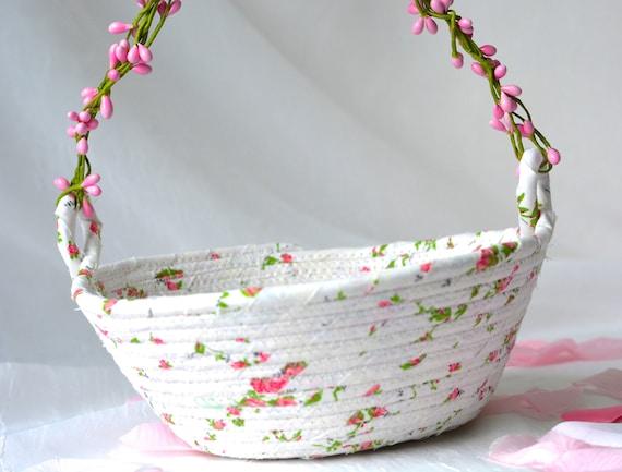Flower Girl Basket, Handmade Quilted Wedding Bowl, Coiled Fabric Basket, Pretty White Wedding Decor, Rose Bud Basket