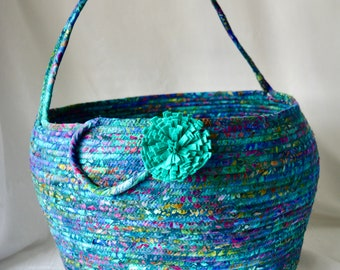 Blue Batik Basket with handle, Unique Fabric Art Vessel, Storage Container, Handmade Batik Fabric Basket, Yarn Holder, Shawl and Scarf Bin