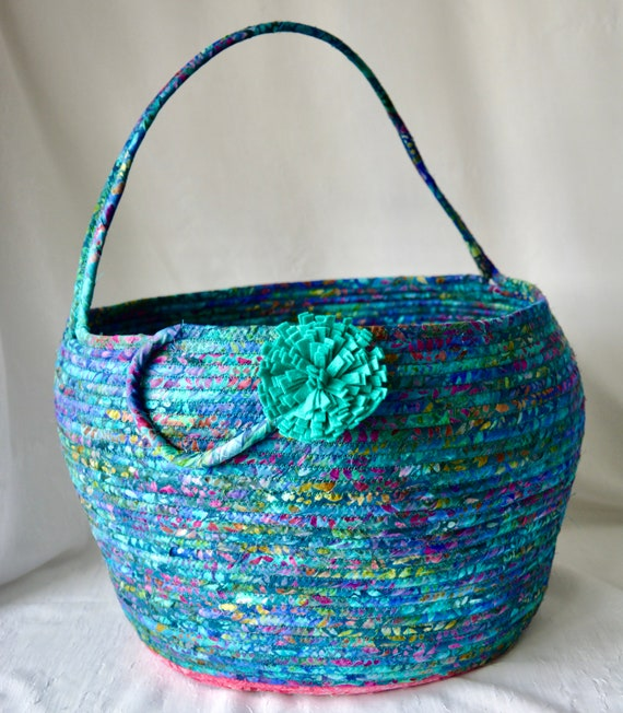 Teal Basket with handle, Unique Fabric Art Vessel, Batik Storage Container, Handmade Handled Batik Basket, Yarn Holder Bin