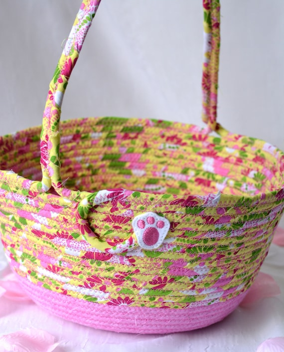 Pink Easter Basket, Handmade Easter Bucket, Whimsical Girl Easter Bucket, Cute Easter Decoration, Free Name Tag, Magenta Hair Tie Bin