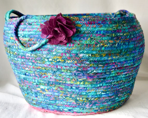 Boho Teal Basket with handle, Unique Fabric Art Vessel, Batik Storage Container, Handmade Handled Batik Basket, Yarn Holder Bin