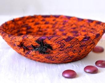 Spider Candy Bowl, Fun Orange Basket, Handmade Funky Bowl, Party Favor, Cute Desk Accessory Bowl,  Halloween Fall Decoration