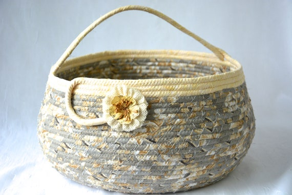 Neutrals Bolga Basket, Gray Home Decor, Handmade Coiled Rope Basket, Lovely Storage Organizer, Knitting Project Bag,  Gift Basket