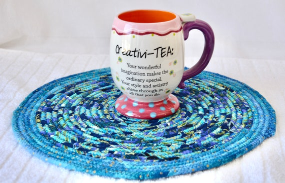 Blue Place Mat, 1 Handmade Azure Trivet, Quilted Hot pad, Pretty Blue Table Topper,  Table Runner, Coiled Potholder