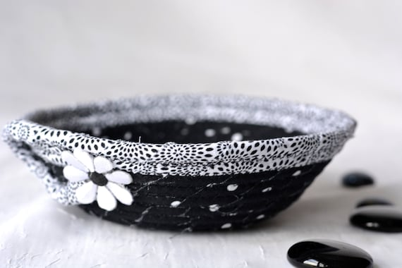 Cute Ring Dish, Handmade Fabric Bowl, Key Tray, Black and White Candy Dish, Desk Accessory Basket, Soft Fiber Pottery, Artisan Quilted