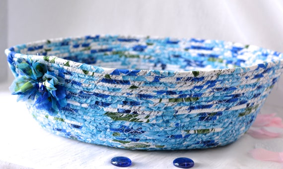 Beautiful Blue Basket Decoration, Handmade Cat Pet Bed, Book Bin Organizer, Modern Blue Dog Bed, Textile Art BAsket, Fabric Bowl