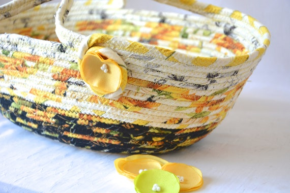 Yellow Picnic Basket, Handmade Bath Organizer, Yellow Home Decor, Black and Yellow Storage Bin, Decorative Coiled Rope Basket
