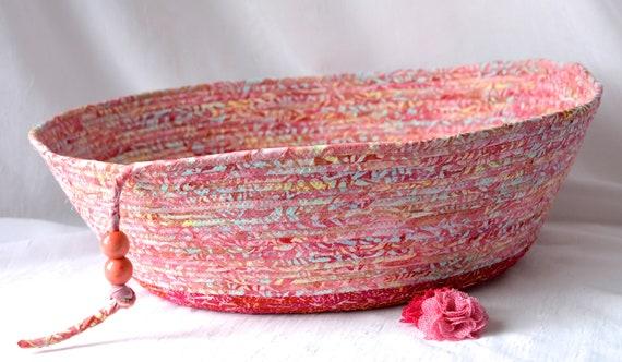 Beautiful Pink Basket, Handmade Batik Pet Bed, Gorgeous Coiled Bowl, Bohemian Fabric Basket, Magazine Bin, Dog Toy Storage Conatiner