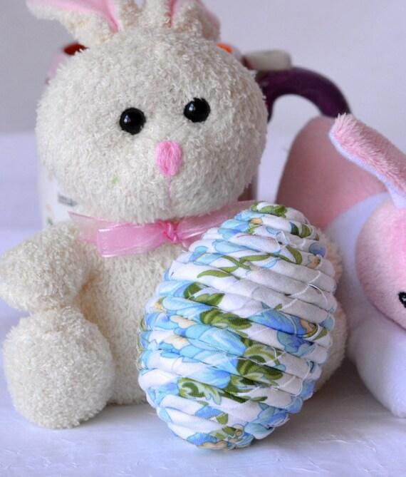 Easter Bowl Filler, Handmade Blue Easter Egg Decor, Easter Egg Hunt, Hand Coiled Fiber Easter Egg, Blue Floral Easter Egg
